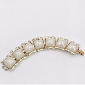 Mid Century Cream Domed Square Link Bracelet